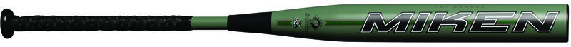 A green Mag 7 SSUSA bat with a Miken logo on the barrel - SKU: MMA21S