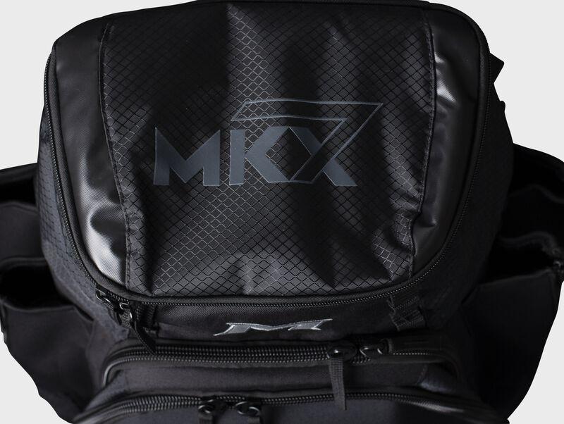 Top of a black Miken XL backpack - SKU: MKMK7X-XL-BLK