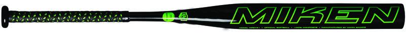 A black REV-EX all association bat with a green Miken logo on the barrel - SKU: MREV21