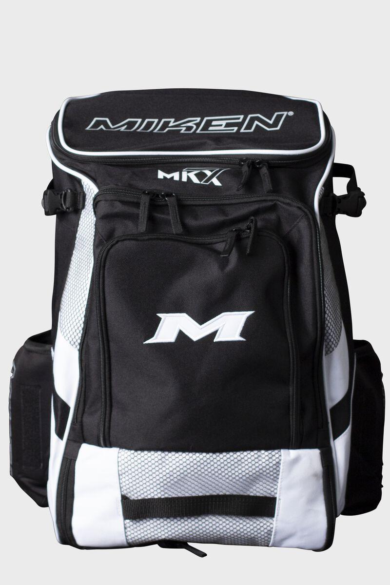 A black/white Miken Softball backpack - MKMK7X-BP-WHT