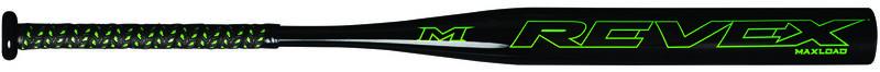 A black Miken REV-EX all association bat with a green logo on the barrel - SKU: MREV21
