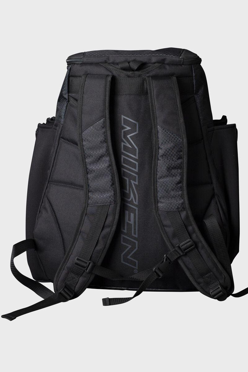 Back of a black Miken XL backpack with black shoulder straps - SKU: MKMK7X-XL-BLK