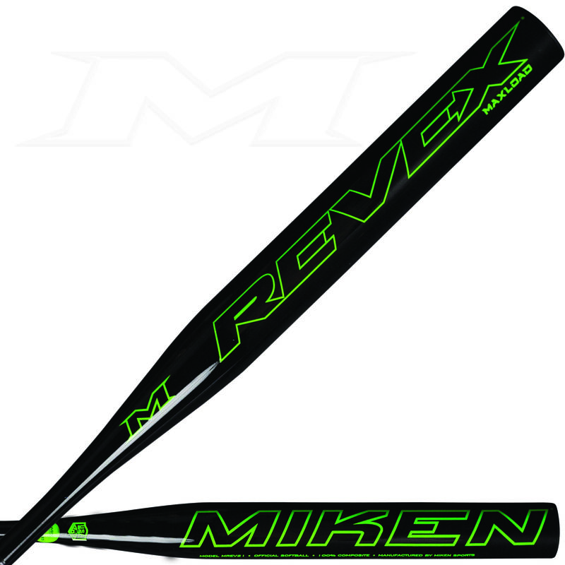 Two views of a black 2021 Rev-EX maxload all association bat with a REVEX logo on one and Miken logo on the other - SKU: MREV21