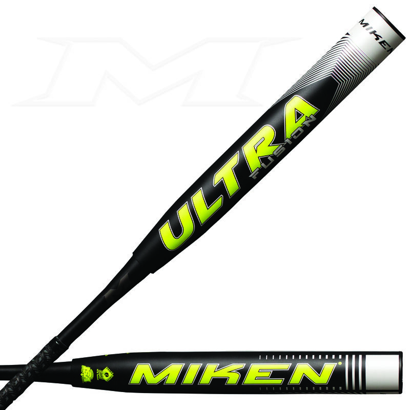 A black 2021 Jason Kendrick Ultra Fusion maxload SSUSA bat with a yellow Ultra logo on the barrel - SKU: MFN4MS
