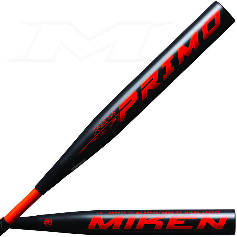 Two views of a black 2021 Freak Primo Maxload USA bat with the Primo logo on one and Miken on the other - SKU: MP21MA