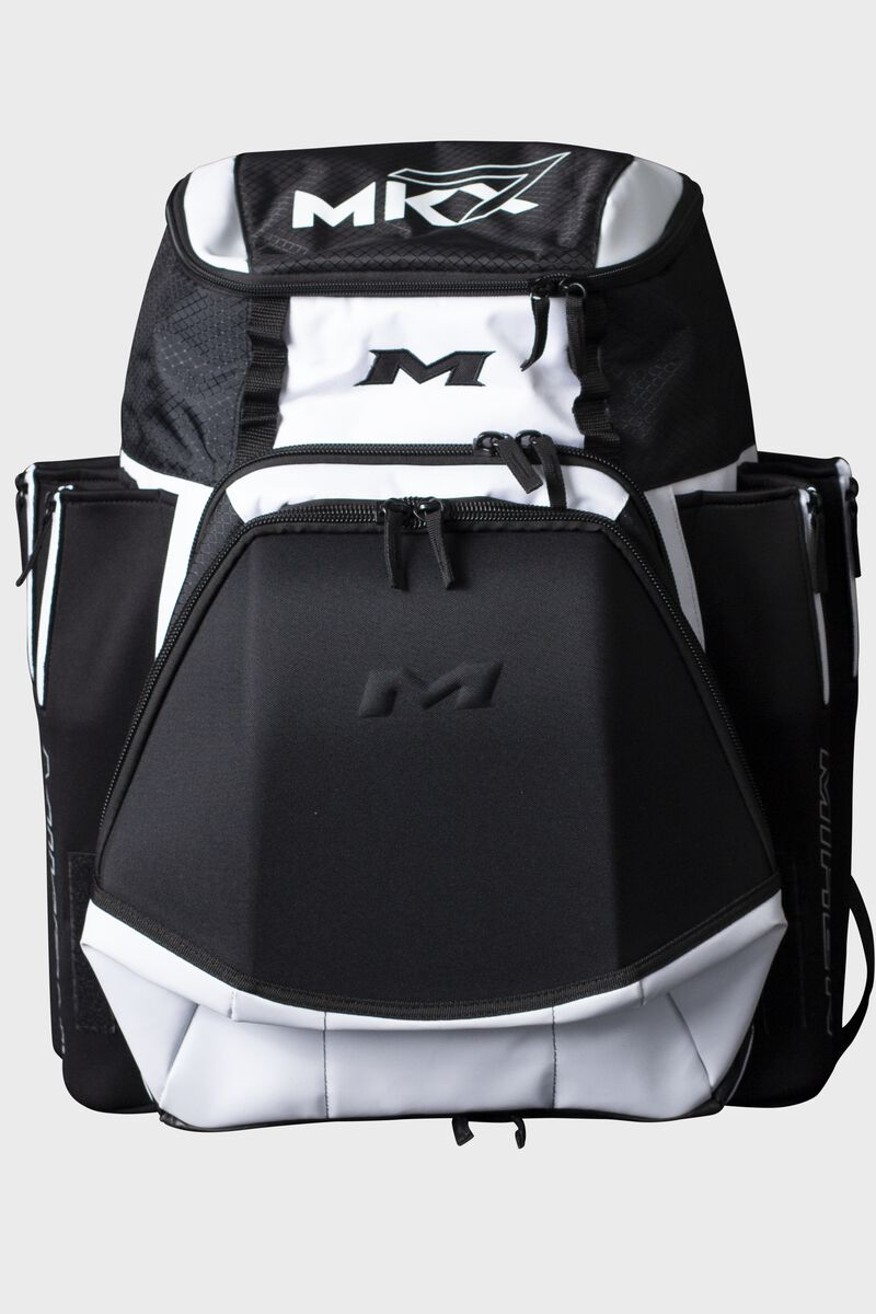 A white Miken XL softball backpack - SKU: MKMK7X-XL-WHT