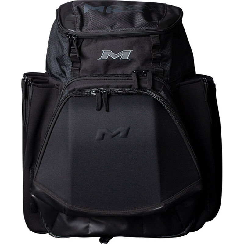 Front of a black Miken XL softball backpack