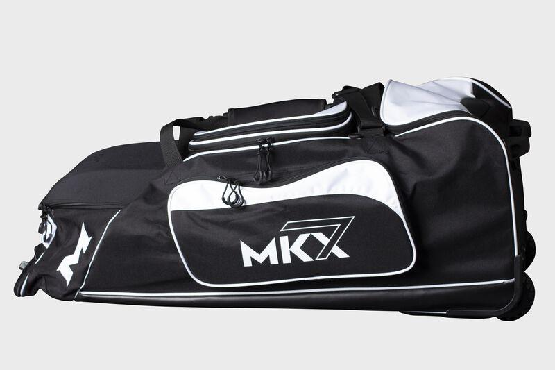 A white Miken Championship wheeled bag - SKU: MKMK7X-CH-WHT