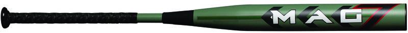 A green Miken Mag 7 SSUSA softball bat with a Mag 7 logo on the barrel - SKU: MMA21S