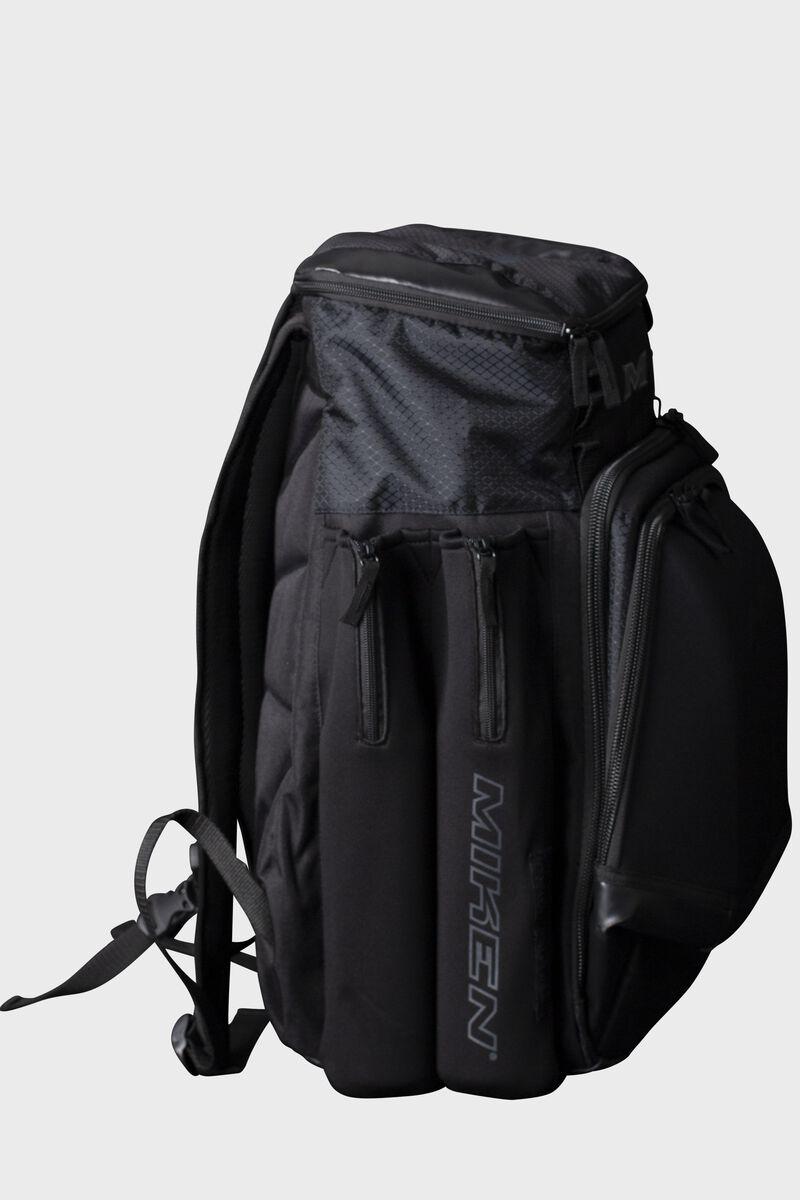Side of a black Miken XL softball backpack - SKU: MKMK7X-XL-BLK