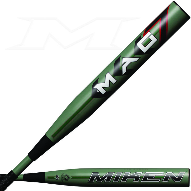 Two views of the barrel of a 2021 Mag 7 maxload SSUSA bat with a Mag 7 logo on one and Miken logo on the other - SKU: MMA21S