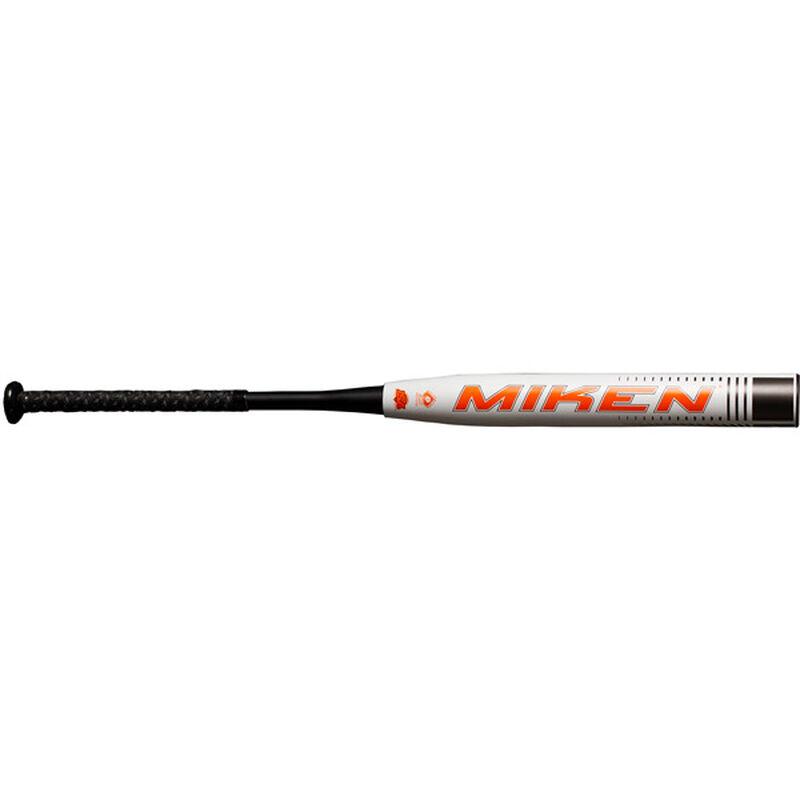 An orange Miken logo on the barrel of a 2021 Ultra Fusion balanced bat - SKU: MFN4BS