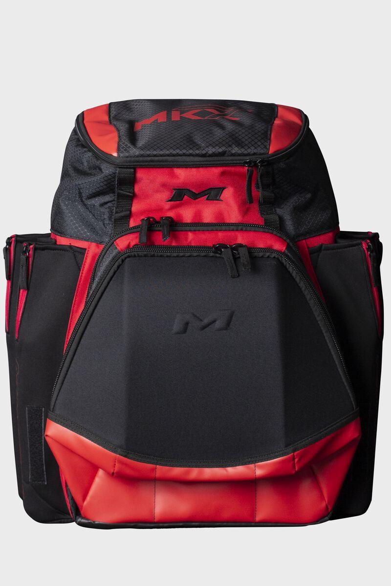 A red Miken XL softball backpack - SKU: MKMK7X-XL-RED