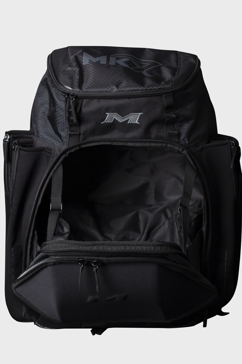 A black Miken XL softball backpack - SKU: MKMK7X-XL-BLK