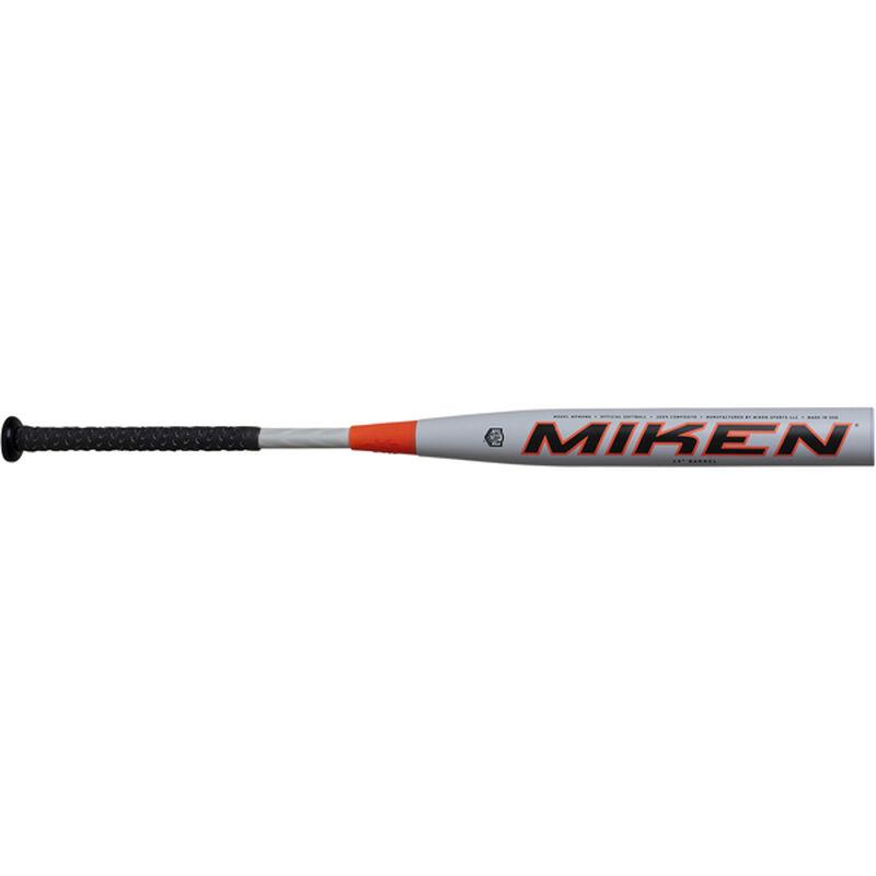 A white 2020 Miken Freak Primo USA bat with a Maxload end load - SKU: MPMOMA
