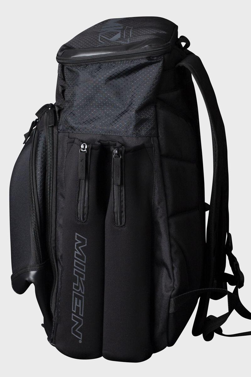 Side of a black Miken backpack - SKU: MKMK7X-XL-BLK