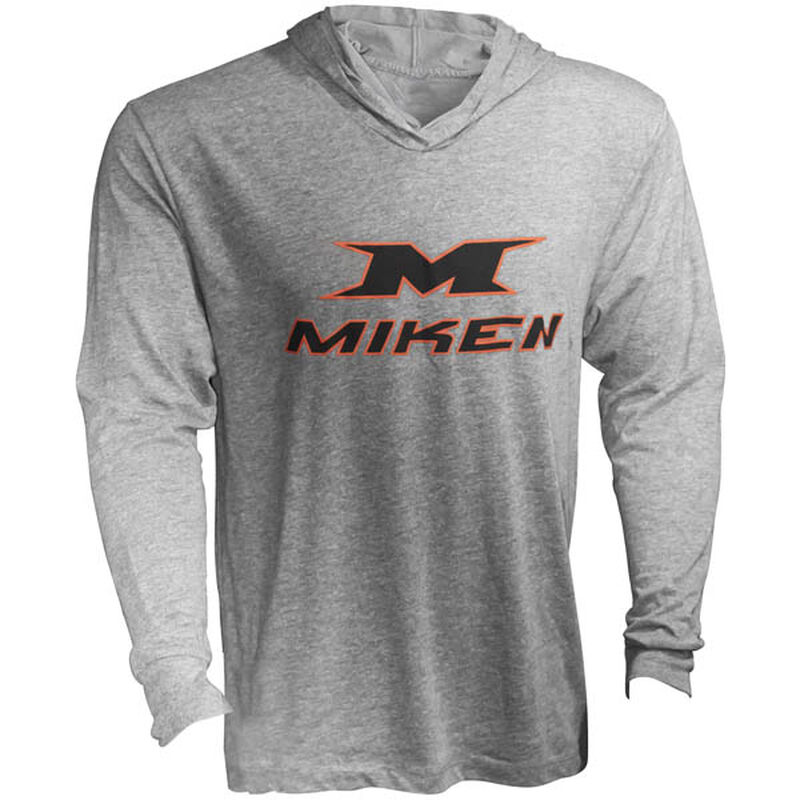 A grey Miken lightweight hoodie with a black logo on the front - SKU: MKLSHD-GRY