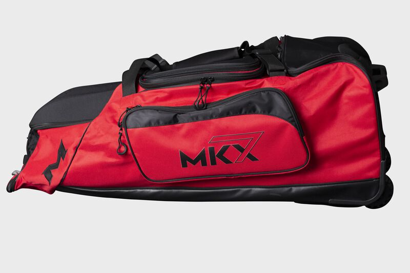 A red Miken Championship wheeled bag - SKU: MKMK7X-CH-RED